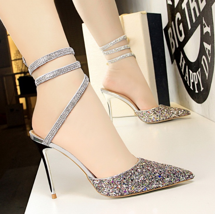 Sexy nightclub women's shoes with high-heeled shallow mouth pointed shiny sequined sandals allinonehere.com