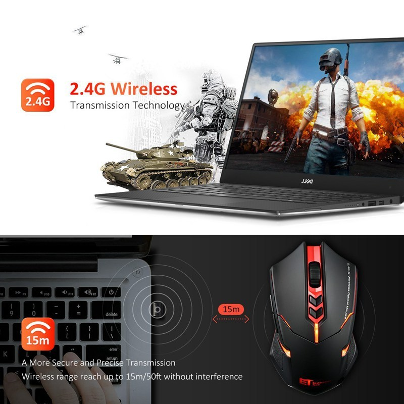 VicTsing Wireless Gaming Mouse 2400 DPI Ergonomic Grips 7 Buttons Breathing Backlit Unique Silent Click Wireless Mouse Gaming allinonehere.com