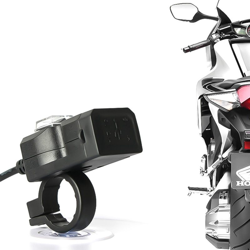 Dual USB port 12V waterproof motorcycle handlebar charger 5V 1A / 2.1A power adapter plug for mobile phone allinonehere.com