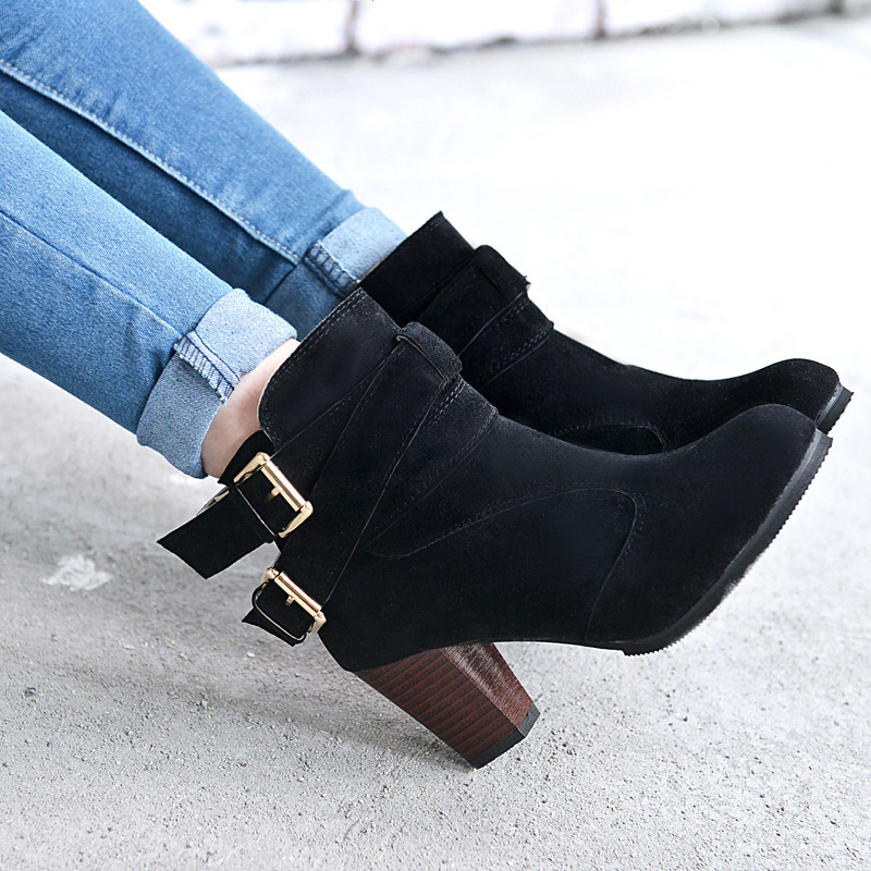 Winter Autumn Leather Casual Women High Heels Pumps Warm Ankle Boots allinonehere.com